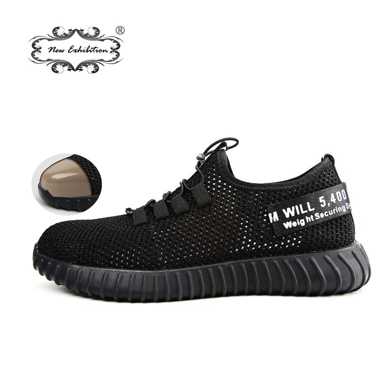New Exhibition Breathable Safety Shoes Men's Lightweight Summer Anti-smashing Piercing Work Sandals Single Mesh Sneakers 35-46