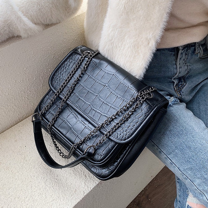 Stone Pattern PU Leather Crossbody Bags For Women 2019 Chain Shoulder Messenger Bag Female Solid Color Handbags Hand Bag