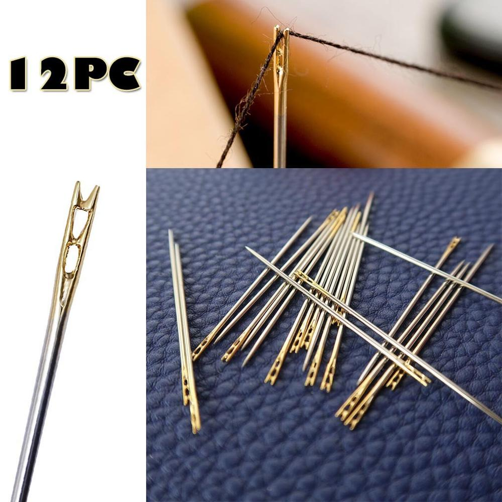 12pcs//Lot Threading Blind Person Stainless Steel Apparel Accessories Embroidery Hand Sewing Needles Side Opening Metal Pin Gold Eye Needle