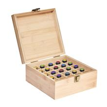 Carrying Essential Oil Storage Box Case | Wooden Organizer Holds 25 Bottles 5 /10/15mL Pine Wood Holder For Home Storage Display 85 grids wooden essential oil box solid wood case frame aromatherapy bottle storage large storage box pine handmade