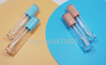 wholesale 100pcs 50ml aluminum empty toothpaste tubes w needle cap unsealed 10/20/30/50/100PCS 8ml Empty Lip Gloss Tube Plastic Lipgloss Bottle Container White Blue Cap Cylinder Small Lipgloss Wholesale