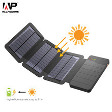 Allpowers banco de energia solar 10000 mah carregador de telefone solar portátil bateria externa para iphone 5 5S 6s 7 8 x plus sony huawei lg