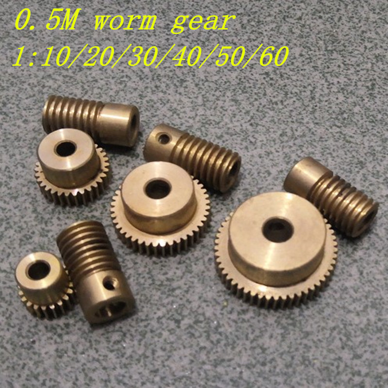 0.5M Brass Worm Gear 1:20 1:30 1:40 1:50 1:60  Electric Motors Brass Worm Gear With Worm Rod Set