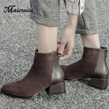 MAIERNISI Womens Boots Autumn Winter Fashion chunky heels Ladies Shoes Woman Flock Sexy Ankle Boots For Women Zipper Boots xiuningyan shoes woman 2018 autumn winter chunky heels zipper black beige ankle boots women s shoes genuine leather matin boots