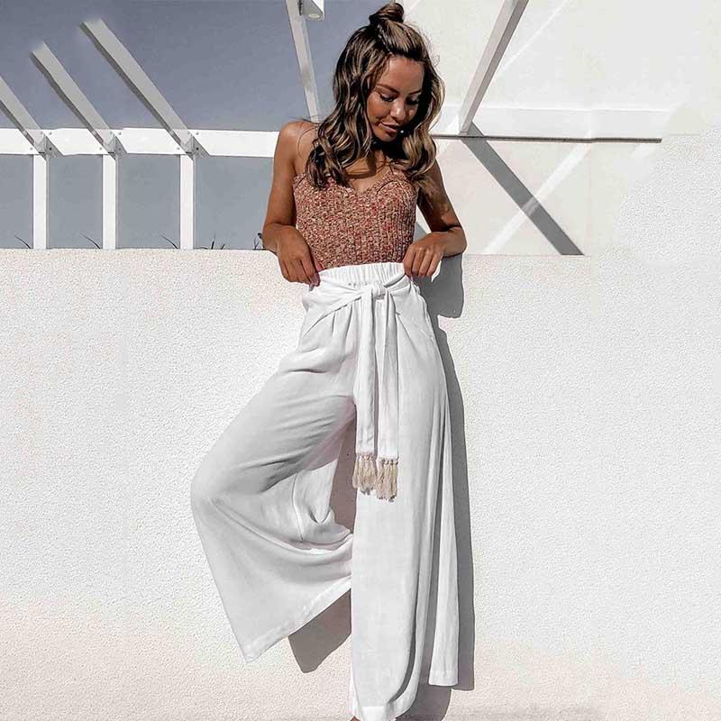 Abollria Pantalones De Palazzo Para Mujer Elegantes Pantalones De Pierna Ancha Con Cintura Alta Casual Pantalon Anchos Con Cinturon Pants Ligero Y Sueltos Para Primavera Verano Mujer Pantalones