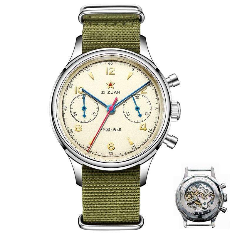 Aviator Watches Mechanical-Hand 1963 Chronograph Wind-Movement Classic Sapphire ST1901