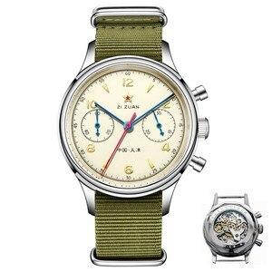 Image 1 - Классические сапфировое стекло 1963 хронограф для мужчин пилот часы механический ручной Ветер движение мужчин t ST1901 мужские авиаторы часы SEAKOSS 38 40