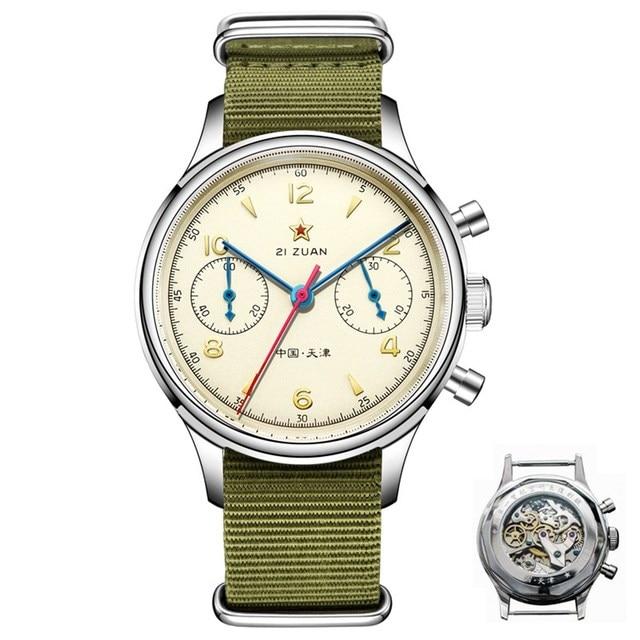 Classic Sapphire Glass 1963 Chronograph Men Pilot Watch Mechanical Hand Wind Movement ST1901 Mens Aviator Watches SEAKOSS 38 40