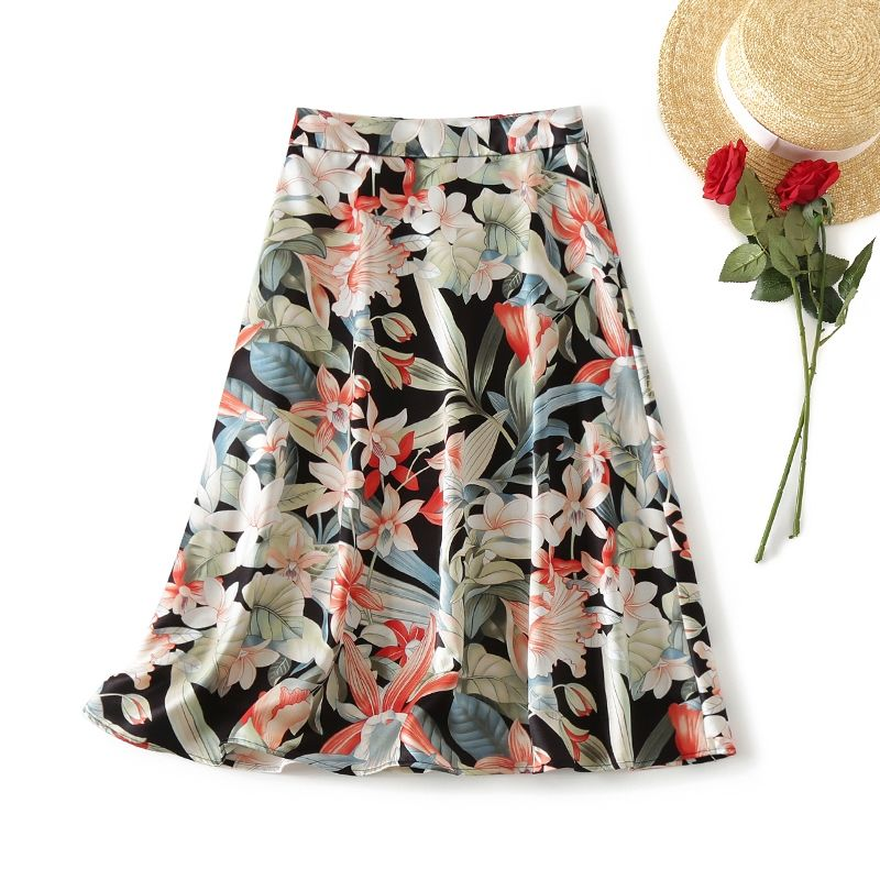 Mulheres 2021 verão plissado a linha saia feminina moda nova floral impressão de cintura alta saia senhoras do vintage chic saias fadas m07