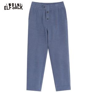 Image 5 - ELFSACK Black Solid Korean Warmness Women Pants 2020 Winter Black Elastic Waist Straight Office Ladies Basic Daily Trousers