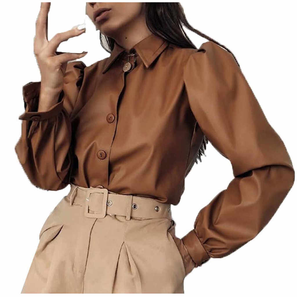 Brown Fashion Women Matte faux leather Notched Vintage Solid Button Sleeve Long Sleeve Shirt Stylish Tops