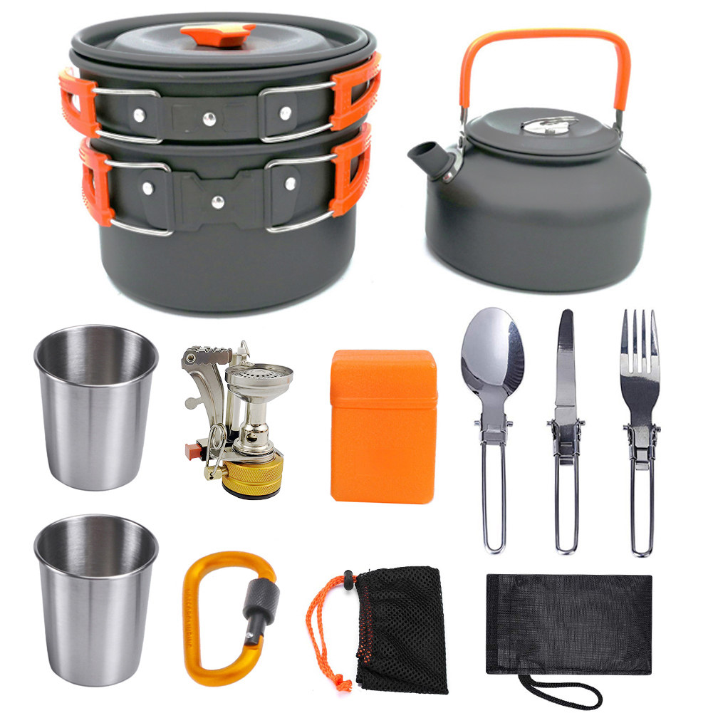 Outdoor Pots Camping Cookware Picnic Cooking Set with Stove Spoon Fork Knife Kettle Non-Stick Tableware for Camping 2-3 Person
