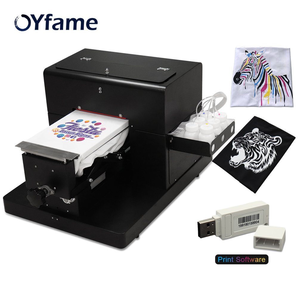 OYfame A4 Flatbed <font><b>Printer</b></font> A4 <font><b>DTG</b></font> Printing Machine <font><b>Tshirt</b></font> <font><b>Printer</b></font> <font><b>for</b></font> <font><b>tshirt</b></font> Dark Light Color Textile fabric clothes Printing image