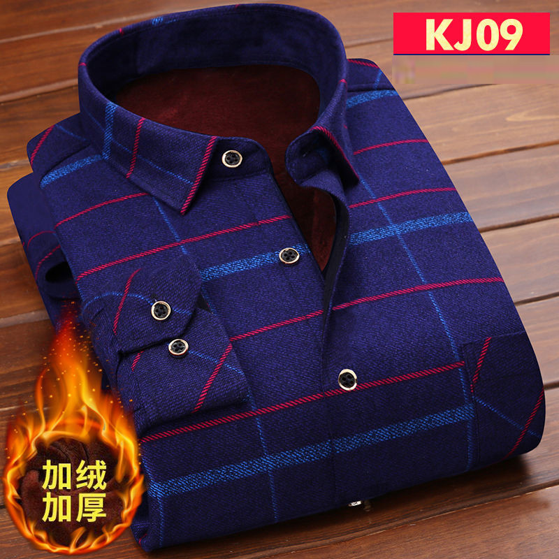 Fashion Men's Winter Warm Plush Slim Shirts  Striped Plaid Print Blouse For Men Casual