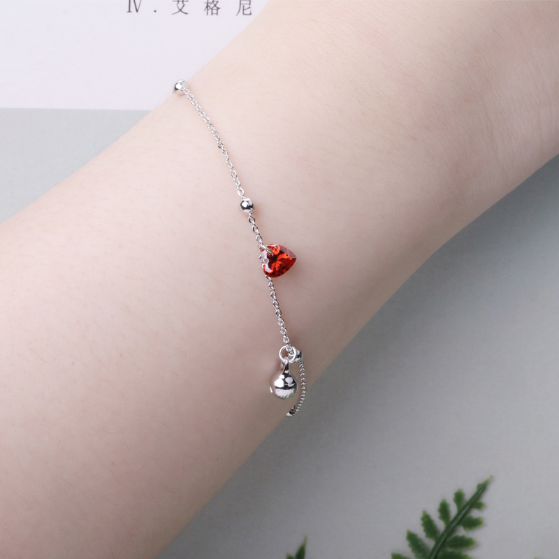 LicLiz 2019 New 925 Sterling Silver Red Heart Zircon Crystal Bracelets for Women White Gold Ball Charm Jewelry Link Chain LB0138 in Bracelets Bangles from Jewelry Accessories