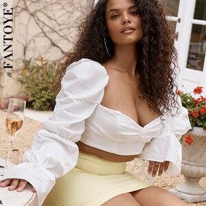 FANTOYE Women White Long Flare Sleeve Zipper Crop Tops Summer Sexy Backless Skinny Short Top Elegant Streetwear Tank Top 2020