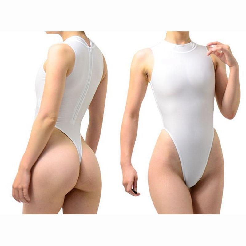 Milk Silk Fabric High Cut Thong Bikini One Piece Tights Swimwear Body Sculpting Bodysuit Sexy Suit Monokini Sukumizu Bathingsuit