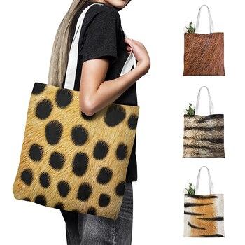 Fashion Animal Leather Tote Bag Women Shopping Shoulder Bag Tiger Leopard Print Handbag Foldable Canvas Bag Grocery Storage Bag casual women s tote bag with leopard print and canvas design