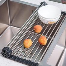 Kitchen Folding Drain Rack Fold Dish Drainer Tray Stainless Sink Drain Basket Washing Vegetable Fruit Drying Rack Net Steel