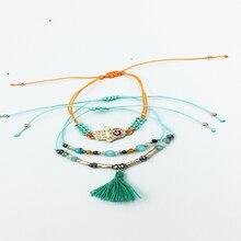 3 pcs / set  charm couple name 2019 trendyn bohe bohemian woman friendship tassel hand shape bead bracelets bangle for women
