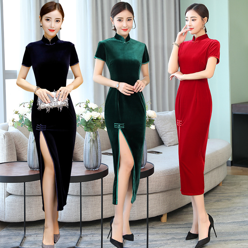 2020 Chinese Traditional Women Short Sleeve Cheongsam Dress Qipao Wool Collar Retro Printing Cheongsam Chinese Dress