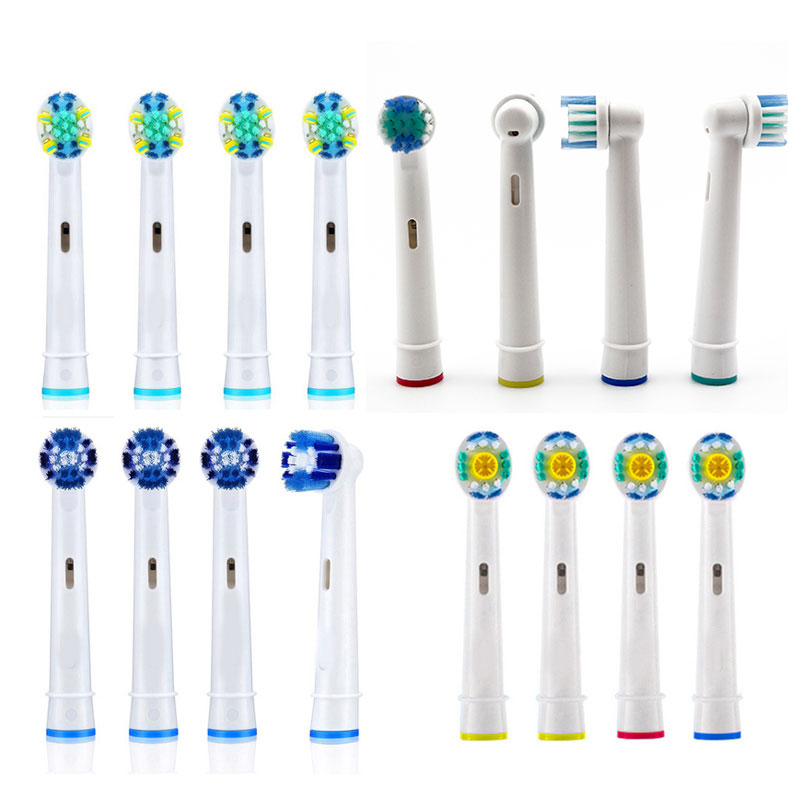 4pcs Cross Action Brush Heads for Braun Oral B Triumph Vitality D12 D16 D18 Pro 8000 Electric 9000 Toothbrush Heads image