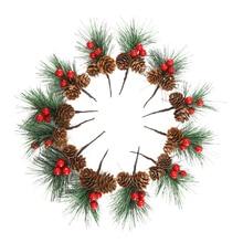 12 шт. искусственные сосновые палочки мини рождественские красные ягоды сосновые шишки Свадебный сад Рождественская елка наполнитель украшения