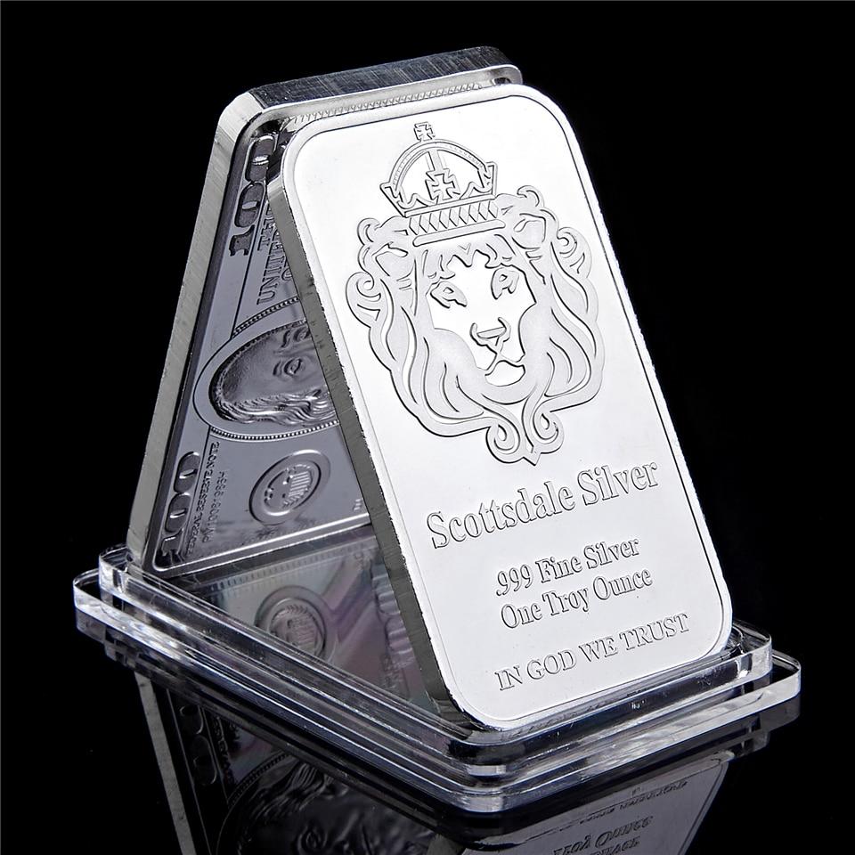 Barra de moedas em prata de scottsdale, barras troy de prata fina de 999, com exibição