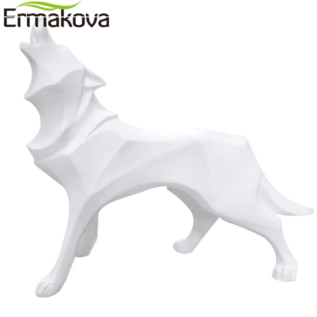 ERMAKOVA Wolf Statue Modern Abstract Geometric Style Resin Wolf Animal Figurine Office Home Decoration Accessories Gift 3