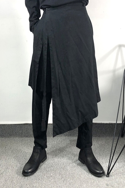 Owen Seak Men Casual Harem Pants Cross High Street Wear Hip HOP Ankle Length Pants Men's Gothic Sweatpants Spring Black Pants 6
