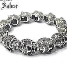 thomas Fleur de lis Lily & Skull Punk Bead Elastic Heart Bracelet Tibetan silver color Rebel Punk Jewelry for Men accessories