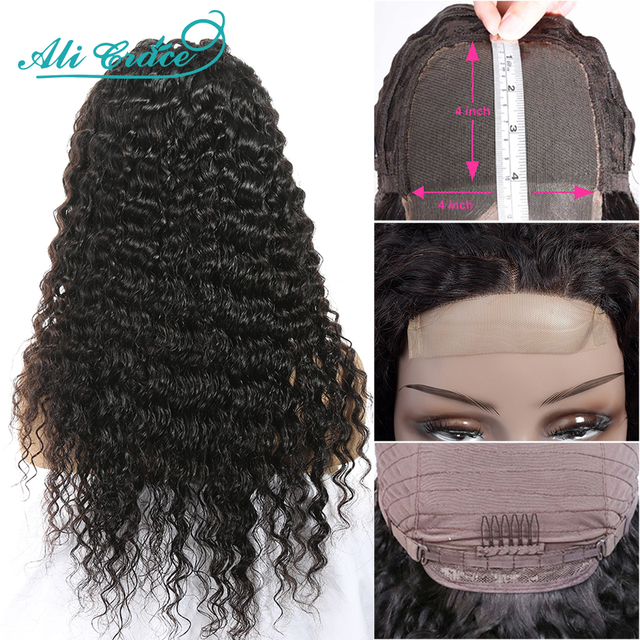 Ali Grace Deep Wave Wig Brazilian Deep Wave Closure Wig with Baby Hair 4X4 Pre-plucked Lace Closure Human Hair Wigs for Women