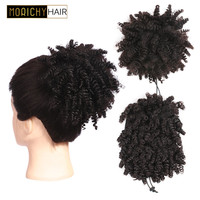 Morichy Hair Chignon Afro Bun Kinky Curly Non Remy Hair Brazilian Short Ponytails Clip In Human Hair Extensions Natural Color
