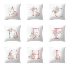 Pink Letter Cushion Covers Flower Print Pillow Case Home Sofa Cover Polyester Throw Decorative Pillowcase 45cm*45cm