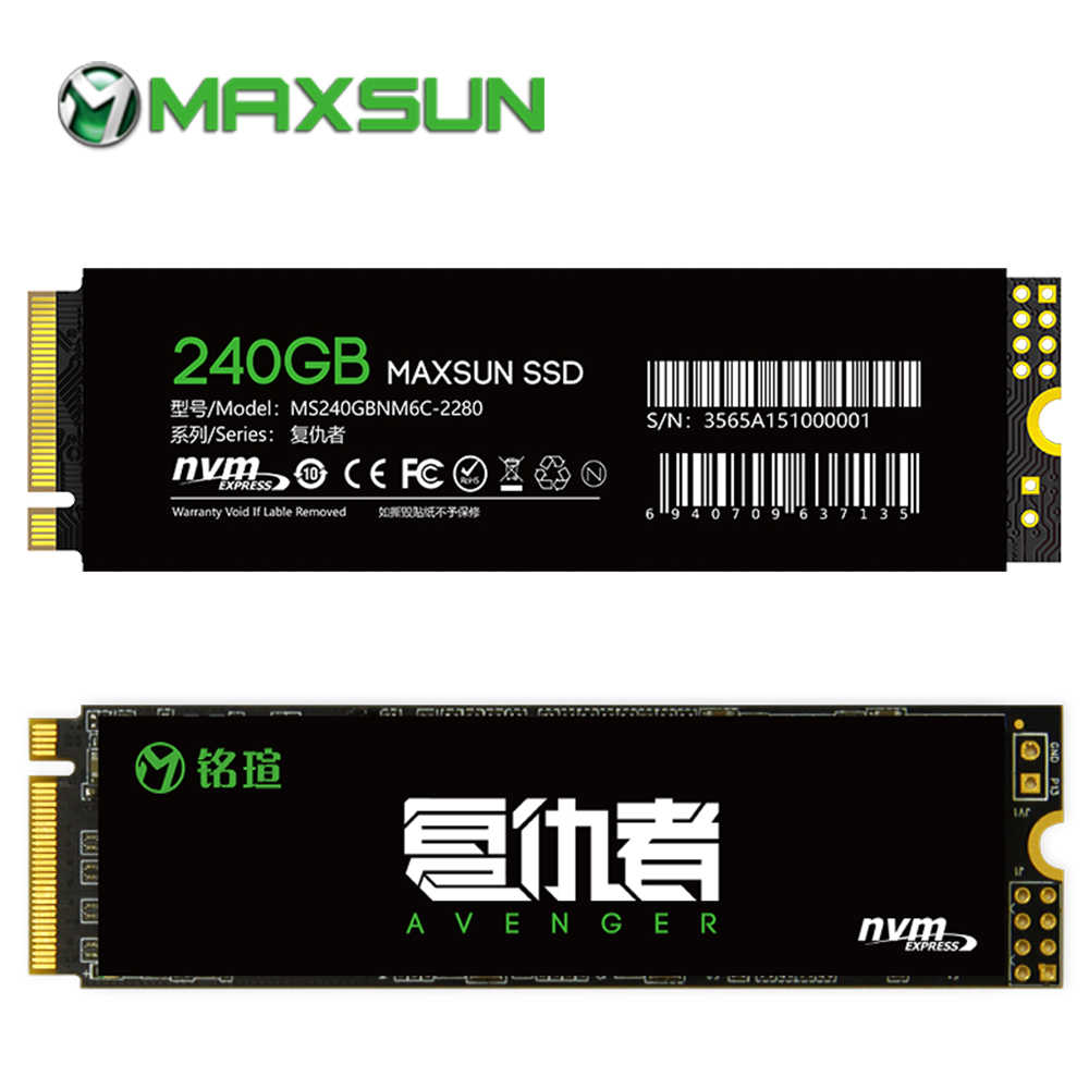 MAXSUN 2280 m2 ssd 240gb ssd m2 SMI 2263XT PCIe Gen3 X 4 m.2 nvme ssd 3D NAND Flash 1500 เมกะไบต์/วินาที 3 ปีสำหรับแล็ปท็อปเดสก์ท็อป