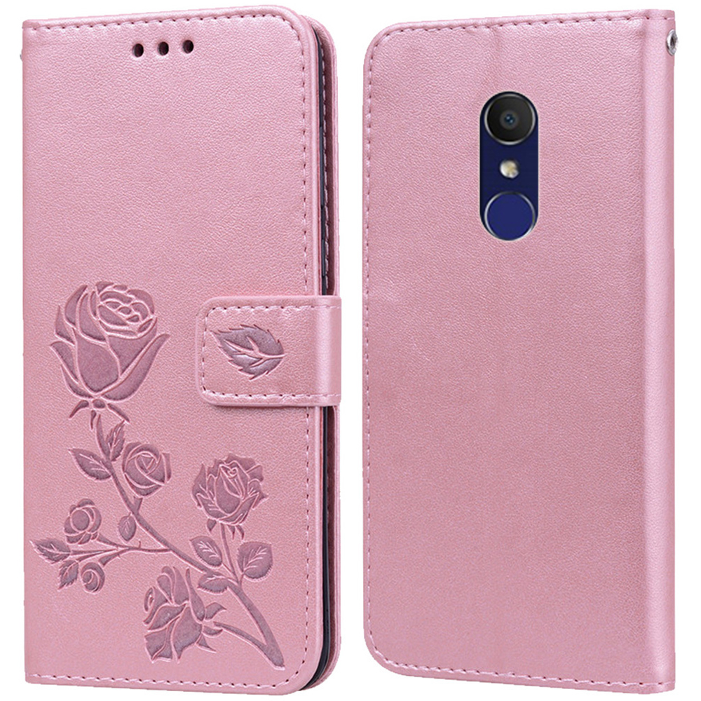 Luxury Leather Flip Book <font><b>Case</b></font> for <font><b>Alcatel</b></font> 1C 2018 5009A 5009D 1C 2019 <font><b>5003D</b></font> Rose Flower Wallet Stand <font><b>Case</b></font> Phone Cover Bag image