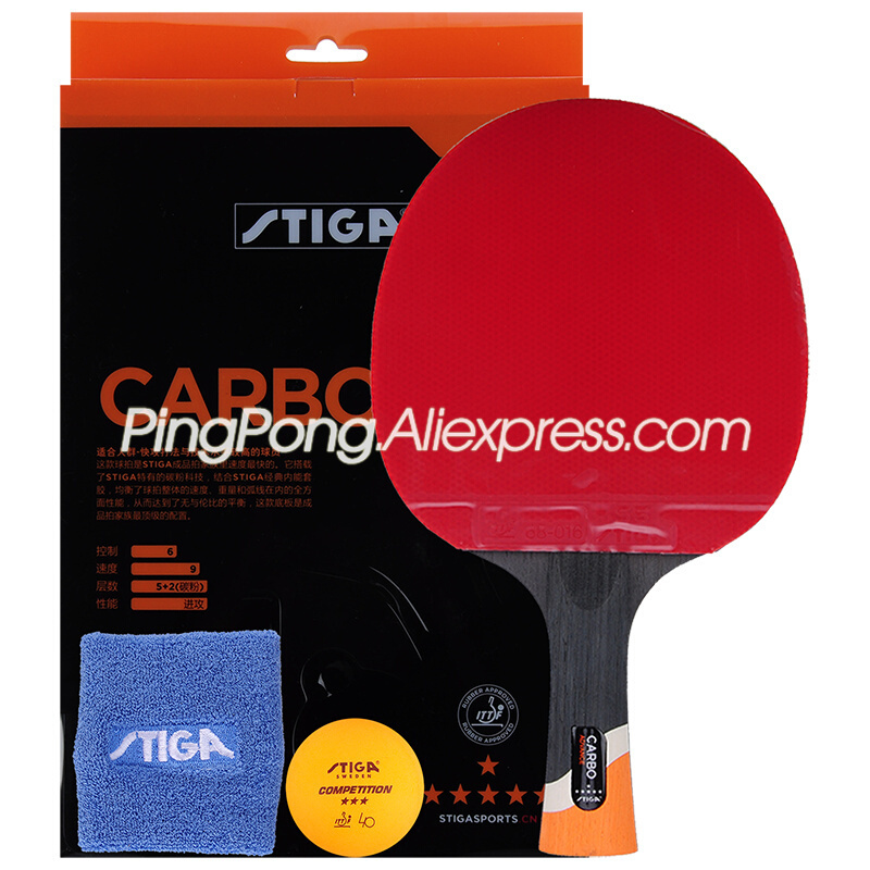 (Ship In Original Box) STIGA 6-Star Table Tennis Racket With Rubber Stiga 6-Star Carbon Ping Pong Bat Gift Set