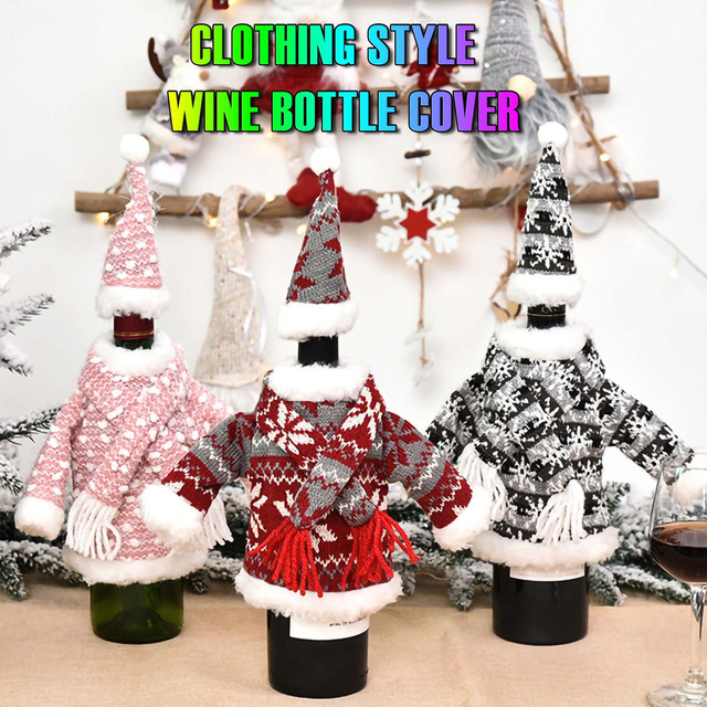 Christmas home decorations Christmas Decorations Mini Cute Knitted Fabric Dress Suit Wine Bottle Cover boże narodzenie navidad 1