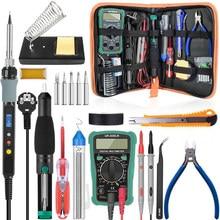 Handskit-soldador eléctrico Digital de estaño kit de pistola para soldar, 80W, con regulador, 110V, 220V, multímetro, kits de Trabajos de soldadura