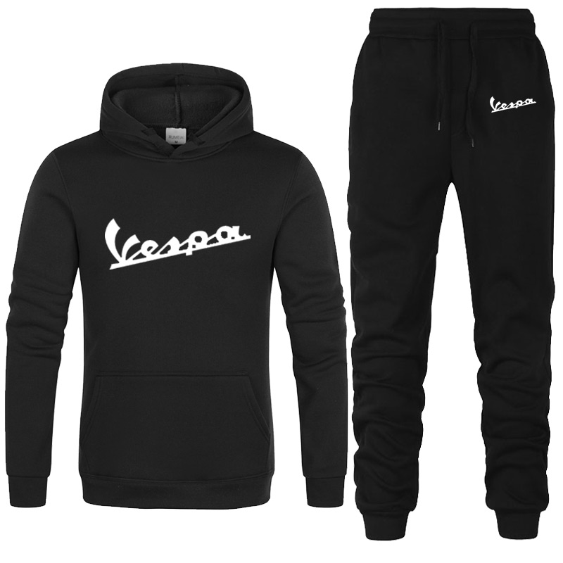 2020 Spring New Hoodies Sets Men/women Vespa Print Hoodies Sweatshirts Motorcycle Casual Winter Hooded Jackets+Pants