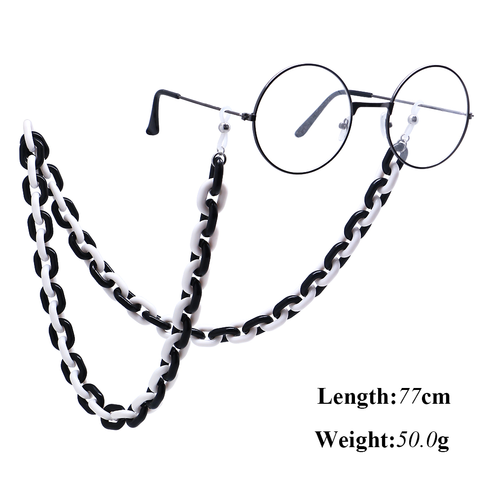 Acrylic Black White Glasses Chain For Women Sunglasses Holder Eyeglasses Lanyards Rope Neck Strap Eyewear Glasses Accessories