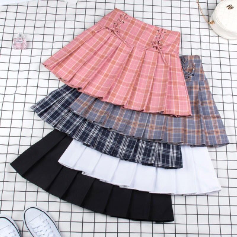 Спортивные теннисные юбки с высокой талией, короткое платье, плиссированная теннисная юбка с трусами, тонкая школьная форма для девочек-под...