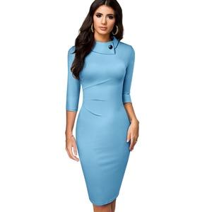 Image 5 - 素敵な 永遠にヴィンテージでエレガントな純粋な色ボタンオフィスワーク vestidos ビジネス正式なボディコン女性ペンシルドレス B574