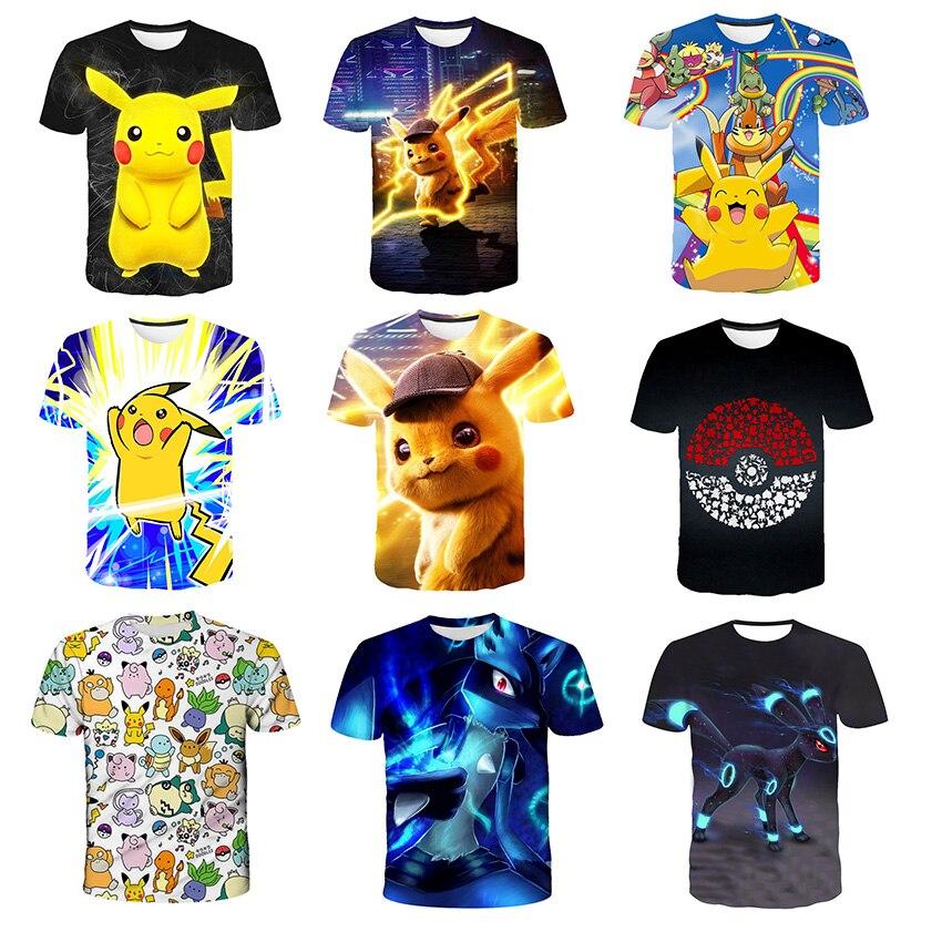 Новинка 2021, летняя Выходная аниме футболка Пикачу, быстросохнущая футболка Pokemon Wit 3DT, оригинальная большая футболка Ju
