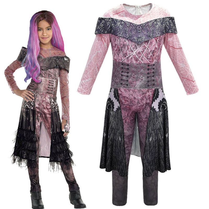 Toddlers Girls Costume Jumpsuit Halloween Descendants 3 Audrey Mal Halloween Cosplay Fancy Outfits Xmas Cosplay Fancy Dress
