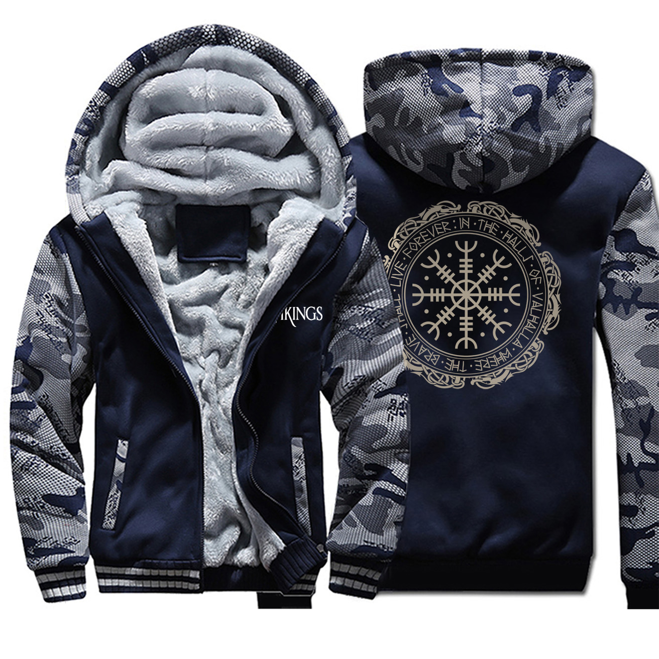 2019 Winter Thick Mens Hoodies Viking Printing Male Jacket Hip Hop Brand Outwear Hot Sale Camouflage Sleeve Men's Jacket Casual 1