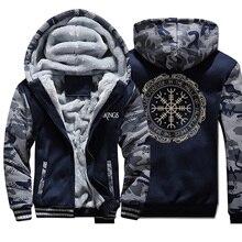 Зимние толстые мужские толстовки с принтом викингов, мужская куртка, хип-хоп Брендовая верхняя одежда, горячая Распродажа, камуфляжная мужская повседневная куртка с рукавами