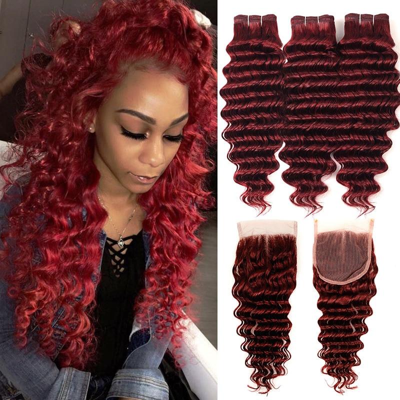 Borgonha vermelha pacotes com fechamento 99j brasileiro profundo onda de cabelo humano 3 pacotes com fechamento vermelho 99j pinshair não-remy