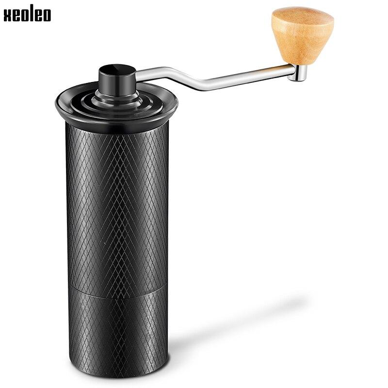 XEOLEO Portable Coffee Grinder Manual Coffee Grinder Aluminum Coffee Miller For Espresso Black Espresso Machine Conical Burr
