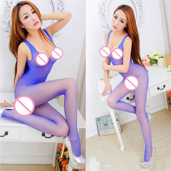 Sexy Open Crotch Bodystocking Fishnet Sheer Mesh Bodysuit Tights Crotchless Flower Full Body Stockings